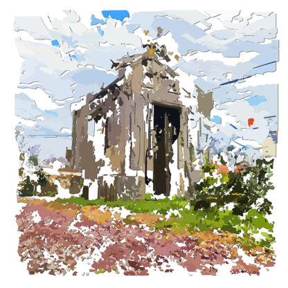 Peinture numérique sur toile d'une chapelle funéraire