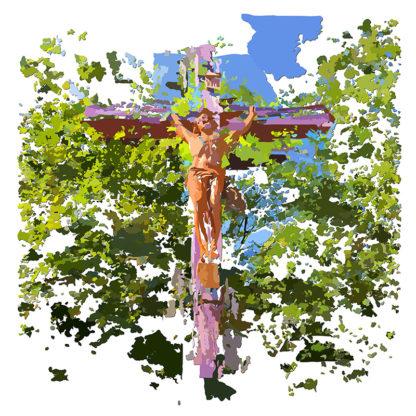 Peinture numérique sur toile du Christ en croix dans le cadre de l'exposition « Comma