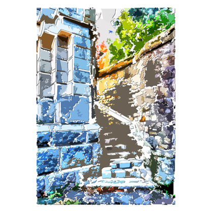 Peinture numérique sur toile de l'escalier extérieur de ESJLA