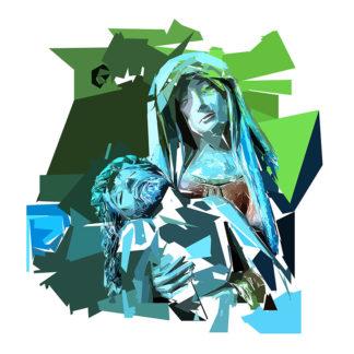 Peinture numérique sur toile de La Déploration du Christ de l'exposition Comma