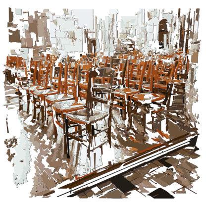 Peinture numérique sur toile du Prétoire de l'exposition Comma