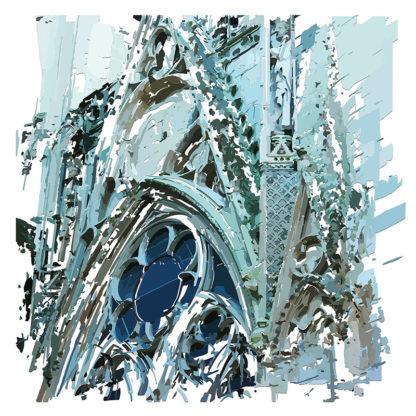 Peinture numérique sur toile de Oculus de l'église de Louviers de l'exposition Comma