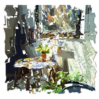 Peinture numérique sur toile des Petits papiers paroissiaux de l'exposition Comma