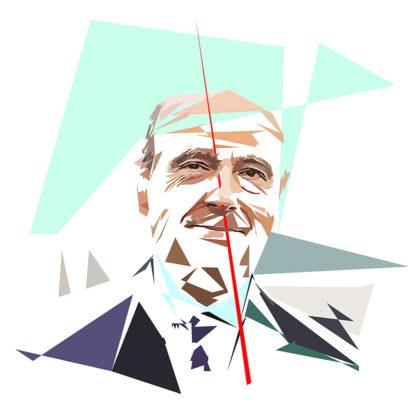 Peinture numérique sur toile de « Alain Juppé » à la manière de l'éloge de l'approximation