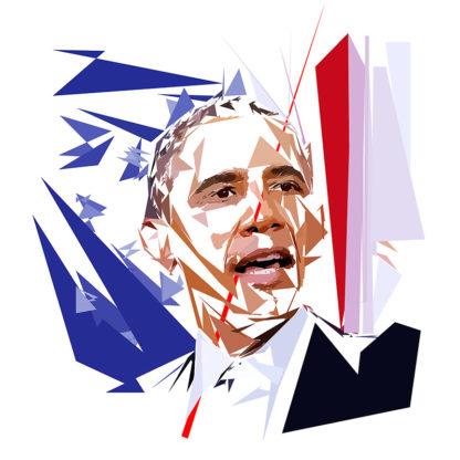 Peinture numérique sur toile de « Barack Obama » à la manière de l'éloge de l'approximation