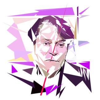 Peinture numérique sur toile de « Claude Hagège » à la manière de l'éloge de l'approximation