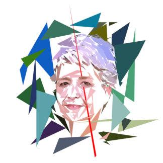 Peinture numérique sur toile de « Claudie Haigneré » à la manière de l'éloge de l'approximation