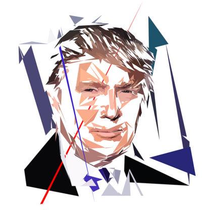 Donald Trump - Un personnage politiques représentés à la façon de l'éloge de l'approximation