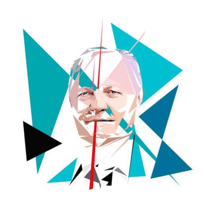 François Asselineau - Un personnage politiques représentés à la façon de l'éloge de l'approximation