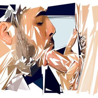 Peinture numérique sur toile de « Gay-beard » à la manière de l'éloge de l'approximation