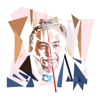 Gérard Larcher - Un personnage politiques représentés à la façon de l'éloge de l'approximation