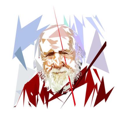 Peinture numérique sur toile de « Hubert Reeves » à la manière de l'éloge de l'approximation