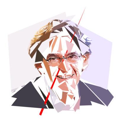 Peinture numérique sur toile de « Luc Ferry » à la manière de l'éloge de l'approximation