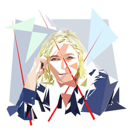 Marine Le Pen - Un personnage politiques représentés à la façon de l'éloge de l'approximation