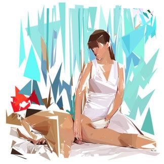 Peinture numérique sur toile de « Massage » à la manière de l'éloge de l'approximation
