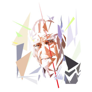 Peinture numérique sur toile de « Michel Serres » à la manière de l'éloge de l'approximation