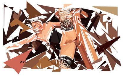 Peinture numérique sur toile de « Shemale » à la manière de l'éloge de l'approximation