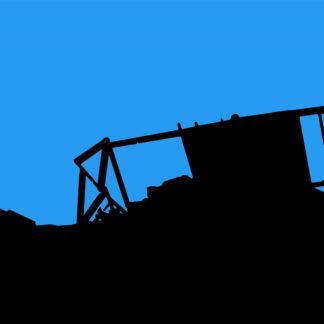Forme et fond - Toile en bleu et noir de sinistre