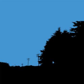 Forme et fond - Toile numérique en noir et bleu de la direction vers le fond