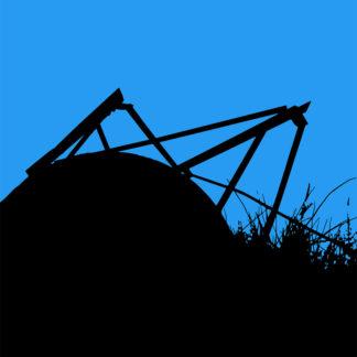 Toile numérique en noir et bleu d'un silo à terre