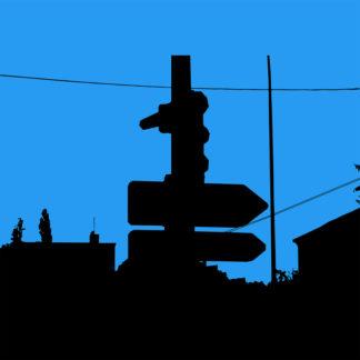 Toile en noir et bleu représentant un feu tricolore noir et panneaux de signalisation