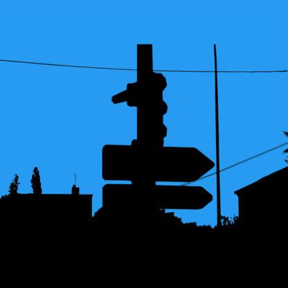 Forme et fond - Toile en noir et bleu représentant un feu tricolore noir et panneaux de signalisation