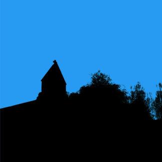 Forme et fond - Photos en noir et bleu de l'Église de Vendeuvres du Poitou en contre-jour