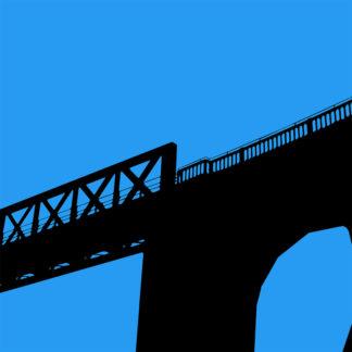 Toile en noire et bleue du pont des suicidés à Saint-Benoît près de Poitiers