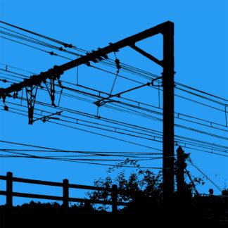 Forme et fond - Toile noire et bleue représentant un jour de grève à la SNCF