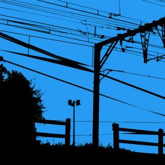 Forme et fond - Toile noire et bleue représentant le 12e jour de la grève de la SNCF pendant les vacances scolaires