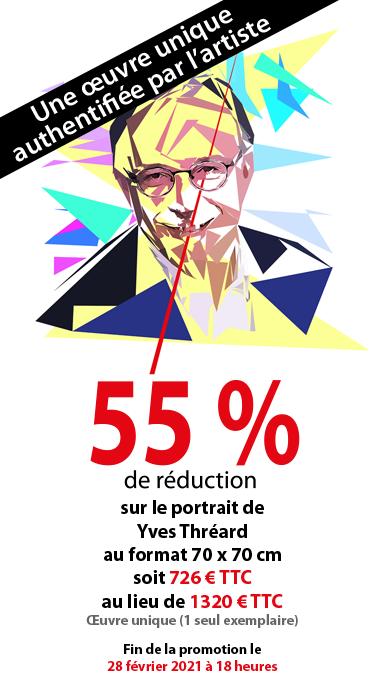 Promotion sur le tableau de 55% d'Yves Thréard, né le 29 mai 1960 à Boulogne-Billancourt. Il est éditorialiste français.