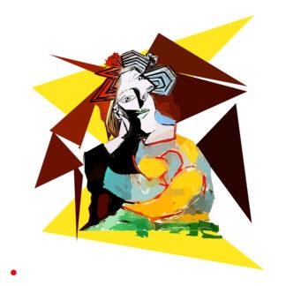 Remake de Pablo Picasso - femme accoudée au drapeau bleu et rouge - 1982